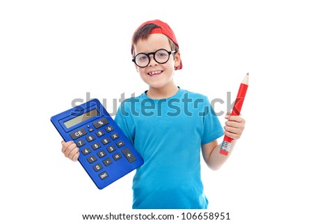 Boy with large calculator and pencil wearing geek glasses - isolated