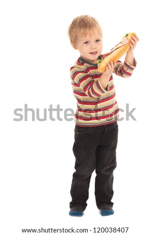 boy with large sandwich on white background