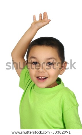 Boy with open empty hand raised, isolated on white