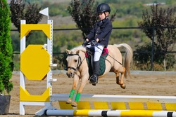 Boy with pony in jumping show