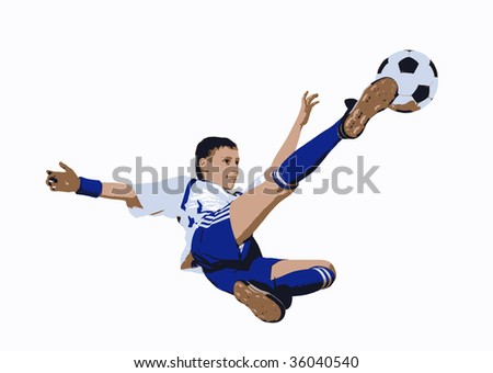 Boy with soccer ball, Footballer on the white background. (graphic)