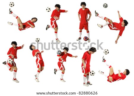 Boy with soccer ball, Footballer on the white background. (isolated) (same model)
