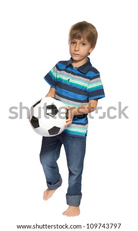 Boy with soccer ball on a white background