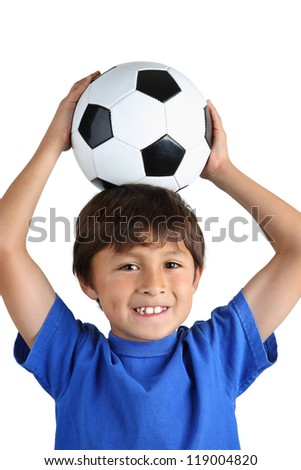 Boy with Soccer Ball on his head on white background - close crop - stock photo