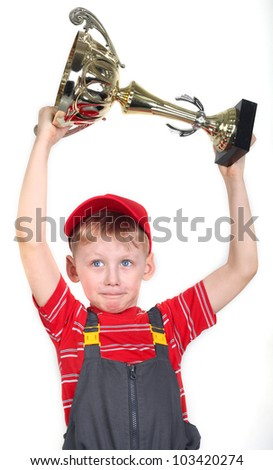 Boy with the gold goblet in the hands. Conqueror.