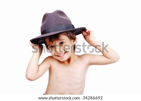 Boy with wheat hat on head