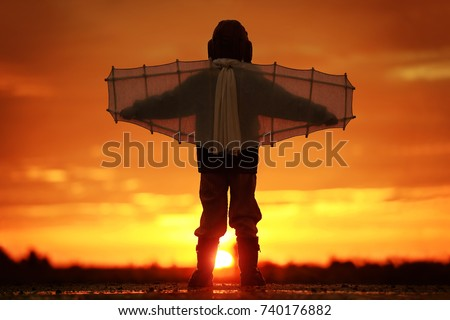 Photo of Boy with wings at sunset imagines himself a pilot and dreams of flying