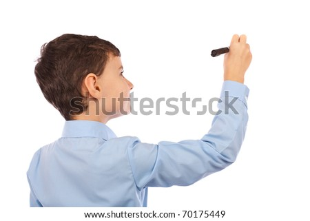 Boy writing on an imaginary board. Any text can be attached to the image to make it meaningful for buyer's project
