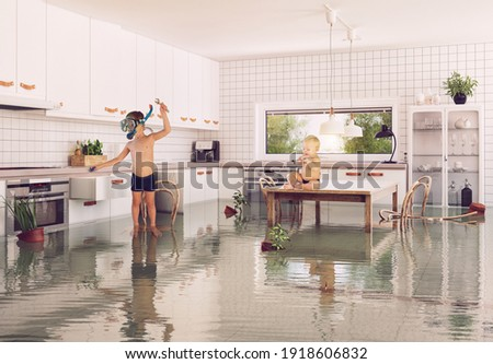 boys and flooding in the room. 3d and photo combination illustration Foto stock ©