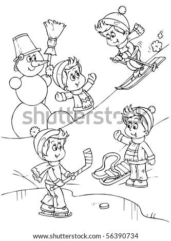 boys and girls ski, sledge, play hockey and build a snowman
