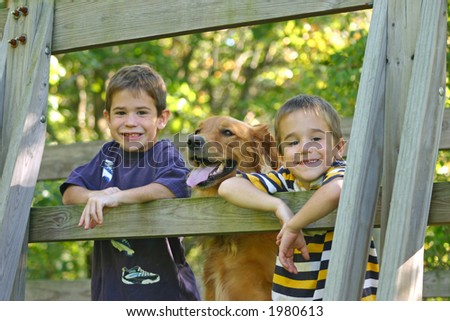 Boys on Bridge with Dog