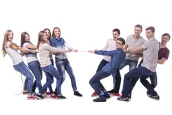 Boys vs girls. Pulling rope. Opposition. isolated over a white background.