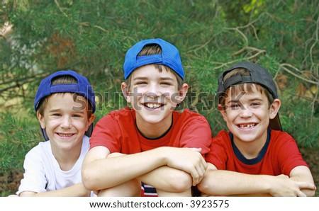 Boys Wearing Baseball Hats