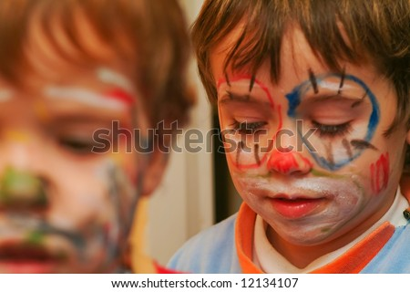 boys with painted face, focus on lips