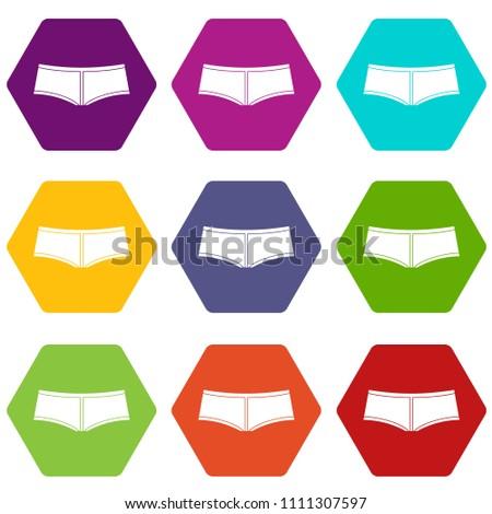 Boyshorts icon set many color hexahedron isolated on white illustration