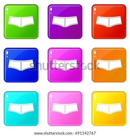 Boyshorts icons of 9 color set isolated  illustration