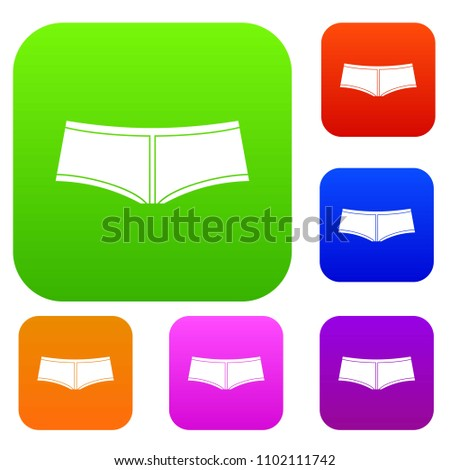 Boyshorts set icon color in flat style isolated on white. Collection sings illustration