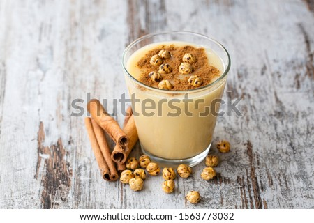 Boza or Bosa, traditional Turkish drink with roasted chickpea Boza or Bosa, traditional Turkish drink with roasted chickpea