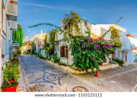 Bozcaada Island, Turkey - October 20, 2016 : Bozcaada streets view. Bozcaada is , populer tourist attraction in Aegean Sea.