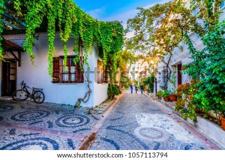 Bozcaada streets view. Bozcaada is populer tourist attraction in Aegean Sea. #1057113794