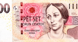 Bozena Nemcova, famous czech writer portrait. Pink rose blossom. Czech writer Bozena Nemcova (Barbora Pankel - Panklova) (1820 - 1862). Portrait from Czech Republic 500 Korun 2009 Banknotes Collection