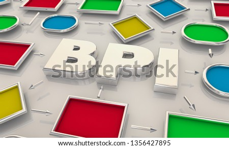 BPI Business Process Improvement Process Map Words 3d Illustration
