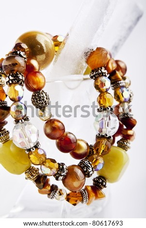 Bracelet with semiprecious stones, silver and glass beads