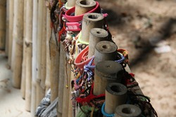 Bracelets commemorating the dead of the Killing Fields in Phnom Penh, Cambodia