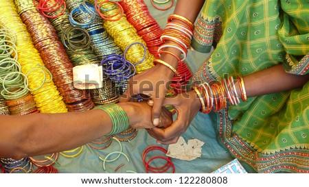 Bracelets Onkadelli market. Orissa. India.