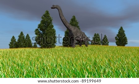 brachiosaurus in field