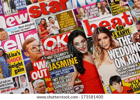 Bracknell, United Kingdom - January 28, 2014: A selection of celebrity news, gossip and entertainment magazines on sale in the United Kingdom on January 28th, 2014