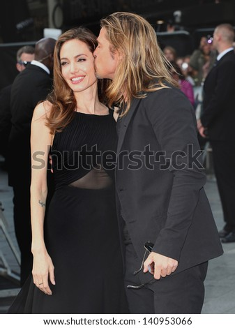 Brad Pitt and Angelina Jolie arriving for the World War Z World Premiere, at Empire Leicester Square, London. 02/06/2013