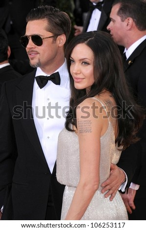 Brad Pitt and Angelina Jolie at the 66th Annual Golden Globe Awards. Beverly Hilton Hotel, Beverly Hills, CA. 01-11-09