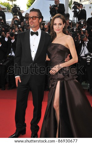 """Brad Pitt & Angelina Jolie at the gala premiere of his new movie """"The Tree of Life"""" in competition at the 64th Festival de Cannes. May 16, 2011  Cannes, France Picture: Paul Smith / Featureflash"""