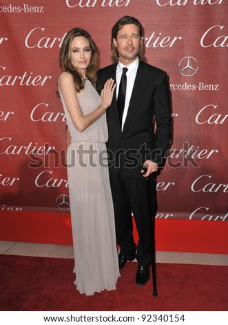 Brad Pitt & Angelina Jolie at the 2012 Palm Springs Film Festival Awards Gala at the Palm Springs Convention Centre. January 7, 2012  Palm Springs, CA Picture: Paul Smith / Featureflash