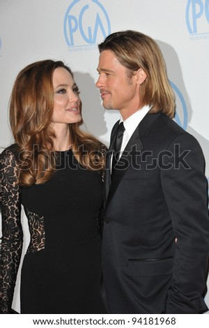 Brad Pitt & Angelina Jolie at the 23rd Annual Producers Guild Awards at the Beverly Hilton Hotel. January 21, 2012  Los Angeles, CA Picture: Paul Smith / Featureflash