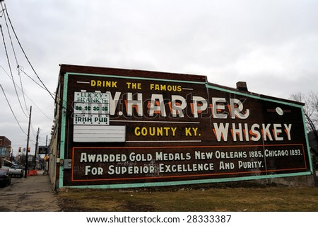 BRADDOCK - FEB. 12: A wall size ad for W. Harper Whiskey is one of few signs of life in largely deserted Braddock, Pennsylvania, a poster town of urban decay, seen on February 12, 2009.