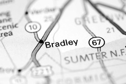Bradley. Augusta. USA on a map