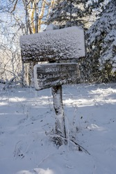 Bradley Fork Trail Intersection Sign Covered In Snow
