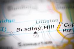 Bradley Hill. United Kingdom on a geography map