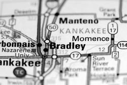 Bradley. Illinois. USA on a map
