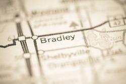 Bradley. Michigan. USA on a geography map.