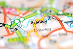 Bradley on a geographical map of UK