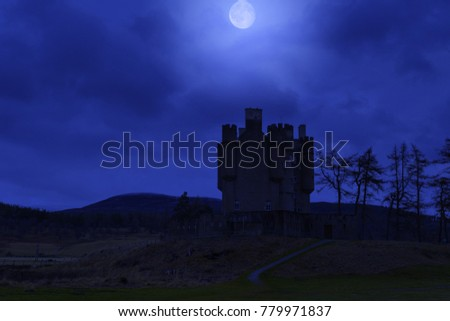 Braemar Castle, built in 1628 located in the heart of the stunning landscape of the Cairngorms National Park, Scotland. Night scene #779971837