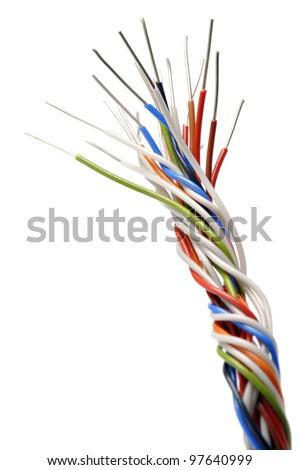braid of fine wires, on white background
