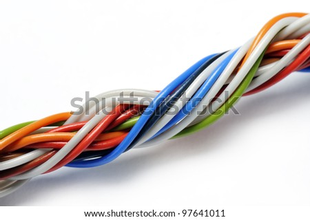 braid of fine wires, on white background