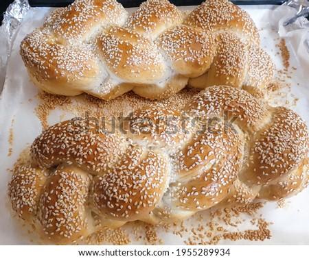 braided hala bread for shabat Stok fotoğraf ©
