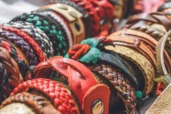 Braided handmade leather bracelets background