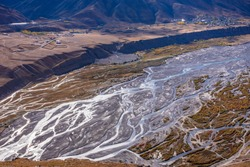 Braided rivers consist of islands occurs in rapid  frequent changes in river water,high sediment load weak banks when a threshold level of sediment load or slope is reaches mainting steep gradient.