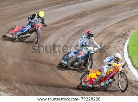 BRAILA, ROMANIA - JUNE 11: Unidentified riders participate at European Championship of Dirt Track on June 11, 2011 on Braila, Romania